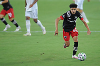 WASHINGTON, DC - AUGUST 25: Kevin Paredes #30 of D.C. United moves the ball during a game between New England Revolution and D.C. United at Audi Field on August 25, 2020 in Washington, DC.