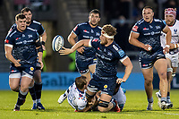 28th May 2021; AJ Bell Stadium, Salford, Lancashire, England; English Premiership Rugby, Sale Sharks versus Bristol Bears; Dan du Preez of Sale Sharks passes the ball after being tackled