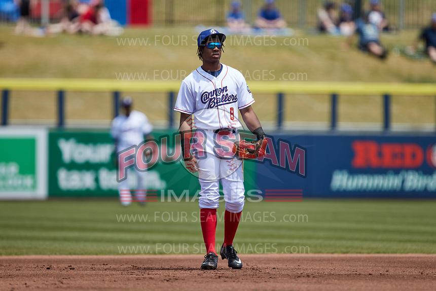 Kannapolis Cannon Ballers third baseman DJ Gladney (8) on defense against the Down East Wood Ducks at Atrium Health Ballpark on May 9, 2021 in Kannapolis, North Carolina. (Brian Westerholt/Four Seam Images)