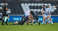 24th April 2021; Liberty Stadium, Swansea, Glamorgan, Wales; Rainbow Cup Rugby, Ospreys versus Cardiff Blues; Ben Murphy of Cardiff Blues is tackled by Morgan Morris and Justin Tipuric of Ospreys
