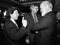 Montreal (qc) CANADA - file Photo - 1992 - <br /> Films Juste Pour Rire - Rock Demers (L) Hubert Harel (R)