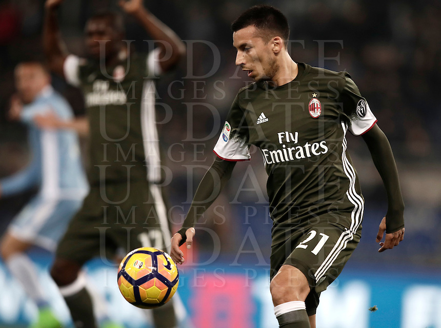 Calcio, Serie A: Lazio, Stadio Olimpico, 13 febbraio 2017.<br /> Milan's Leonel Vangioni n action during the Italian Serie A football match between Lazio and Milan at Roma's Olympic Stadium, on February 13, 2017.<br /> UPDATE IMAGES PRESS/Isabella Bonotto