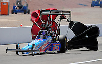 Apr. 2, 2011; Las Vegas, NV, USA: NHRA top fuel dragster driver Mike Strasburg during qualifying for the Summitracing.com Nationals at The Strip in Las Vegas. Mandatory Credit: Mark J. Rebilas-