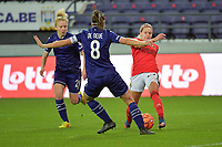 Benfica's forward Cloe Lacasse (R) with Anderlecht's midfielder Charlotte Tison  (L) and Anderlecht's defender Laura De Neve  pictured during a female soccer game between RSC Anderlecht Dames and Portugese Benfica Ladies  in the second qualifying round for the Uefa Womens Champions League of the 2020 - 2021 season , Wednesday 18 th of November 2020  in ANDERLECHT , Belgium . PHOTO SPORTPIX.BE | SPP | DIRK VUYLSTEKE