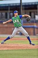 Lexington Legends starting pitcher Corey Ray (18) delivers a pitch during a game against the Asheville Tourists at McCormick Field on April 19, 2016 in Asheville, North Carolina. The Legends defeated the Tourists 11-9. (Tony Farlow/Four Seam Images)