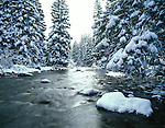 Snow covered Gore Creek in the Vail Valley, Vail, Colorado, USA. .  John leads private photo tours in Boulder and throughout Colorado. Year-round Boulder photo tours.