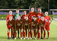 From left to right top row Woluwe's Selina Gijsbrechts, goalkeeper Hazel Engelen, Kenza Vrithof, Marie Bougard, Sheila Broos, left to right first row Stefanie Deville, Estelle Peron, Magali Dinon, Anouck Cochez and  Stephanie Suenens pose for the team photo before a female soccer game between FC Femina WS Woluwe and Standard Femina de Liege on the fourth match day of the 2020 - 2021 season of Belgian Womens Super League , Friday 8th of October 2020  in Liege , Belgium . PHOTO SPORTPIX.BE | SPP | SEVIL OKTEM