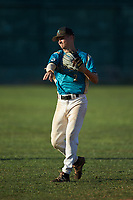 Justin Fox (2) (Erskine College) of the Mooresville Spinners warms up in the outfield prior to the game against the Concord A's at Moor Park on July 31, 2020 in Mooresville, NC. The Spinners defeated the Athletics 6-3 in a game called after 6 innings due to rain. (Brian Westerholt/Four Seam Images)