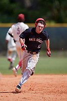 Ball State Cardinals left fielder Mack Murphy (12) running the bases during a game against the Saint Joseph's Hawks on March 9, 2019 at North Charlotte Regional Park in Port Charlotte, Florida.  Ball State defeated Saint Joseph's 7-5.  (Mike Janes/Four Seam Images)