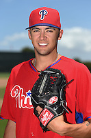 GCL Phillies pitcher Christopher Oliver (38) poses for a photo after a game against the GCL Pirates on June 26, 2014 at the Carpenter Complex in Clearwater, Florida.  GCL Phillies defeated the GCL Pirates 6-2.  (Mike Janes/Four Seam Images)