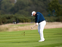 17.10.2014. The London Golf Club, Ash, England. The Volvo World Match Play Golf Championship.  Day 3 group stage matches.  Shane Lowry [IRL] second shot, fifth hole.