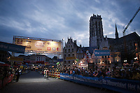 Racing in the city center under the historic St-Rombouts Toren<br /> <br /> Post-Tour Criterium Mechelen (Belgium) 2016