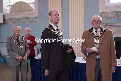 """Hercules Clay Penny Loaf Day. The reception in the Town Hall is attended by about 100 guests including many Lord Mayors from neighborliness towns in Nottinghamshire.<br /> <br /> Hercules Clay Penny Loaf Day. Hercules Clay a wealthy cloth merchant who was a former Newark businessman and in 1644 Royalist Mayor of the town during the English Civil War. For three nights in a row he dreampt of his house burning and he took this as an omen, moving out just before the house was indeed damaged by a """"grenado"""", a mortar shell fired by the besieging Parliamentary forces.  He died in 1645, and in his Will he left a legacy providing for an annual sermon in which the preacher was to 'exhort the people not to set their affections on things of this world but by their good works to lay … hold on eternal life', and for bread to be distributed to the poor."""