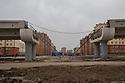 Uzbekistan - Tashkent - The new metro flyover being built in the working class neighborhood of Sergeli.