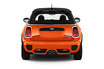 Straight rear view of 2018 MINI Cooper JCW Door Hatchback Rear View  stock images