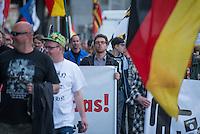 """Baergida Montagsdemonstration in Berlin.<br /> Ca. 150 Anhaenger des Berliner Pegida-Ablegers """"Baergida"""" zogen mit einer Demonstration vom Hauptbahnhof zum Roten Rathaus. Unter den Teilnehmern waren wie immer etwa 30-35 Fussball-Hooligans, sog. """"Reichsbuerger"""", Verschwoerungstheoretiker und Rechtsradikale. Die Demonstranten riefen immer wieder Parolen wie gegen anwesende Journalisten und gegen die Bundesregierung. Ein Journalist, der in der Vorwoche von Baergida-Anhaengern verpruegelt und verletzt wurde, wurde erneut verbal bedroht.<br /> In der Bildmitte rechts am Transparent: Baergida-Pressesprecher """"Reiner Zufall"""" alias Heribert Eisenhardt vom AfD-Kreisverband Lichtenberg.<br /> 4.5.2015, Berlin<br /> Copyright: Christian-Ditsch.de<br /> [Inhaltsveraendernde Manipulation des Fotos nur nach ausdruecklicher Genehmigung des Fotografen. Vereinbarungen ueber Abtretung von Persoenlichkeitsrechten/Model Release der abgebildeten Person/Personen liegen nicht vor. NO MODEL RELEASE! Nur fuer Redaktionelle Zwecke. Don't publish without copyright Christian-Ditsch.de, Veroeffentlichung nur mit Fotografennennung, sowie gegen Honorar, MwSt. und Beleg. Konto: I N G - D i B a, IBAN DE58500105175400192269, BIC INGDDEFFXXX, Kontakt: post@christian-ditsch.de<br /> Bei der Bearbeitung der Dateiinformationen darf die Urheberkennzeichnung in den EXIF- und  IPTC-Daten nicht entfernt werden, diese sind in digitalen Medien nach §95c UrhG rechtlich geschuetzt. Der Urhebervermerk wird gemaess §13 UrhG verlangt.]"""