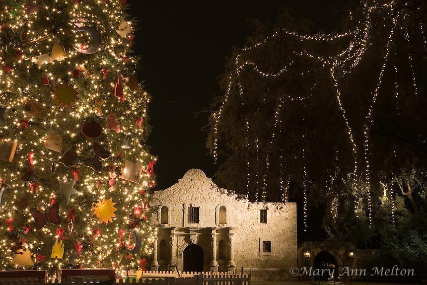 The San Antonio Christmas Tree in front of the Alamo