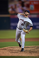 Lancaster JetHawks relief pitcher Rayan Gonzalez (43) delivers a pitch during a California League game against the Inland Empire 66ers at San Manuel Stadium on May 18, 2018 in San Bernardino, California. Lancaster defeated Inland Empire 5-3. (Zachary Lucy/Four Seam Images)