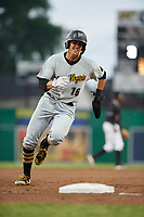 West Virginia Black Bears shortstop Robbie Glendinning (16) rounds third base during a game against the Batavia Muckdogs on June 18, 2018 at Dwyer Stadium in Batavia, New York.  Batavia defeated West Virginia 9-6.  (Mike Janes/Four Seam Images)