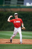 Adam Hall (8) of AB Lucas Secondary School in London, Ontario, Canada during practice before the Under Armour All-American Game presented by Baseball Factory on July 23, 2016 at Wrigley Field in Chicago, Illinois.  (Mike Janes/Four Seam Images)