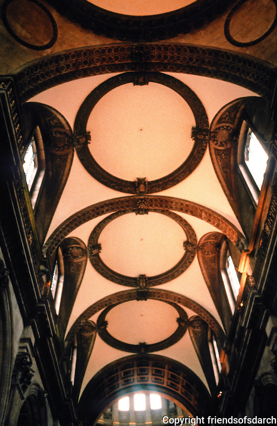 Sir Christopher Wren: St. Paul's Cathedral--Ceiling of nave, looking west from crossing. Photo '90.