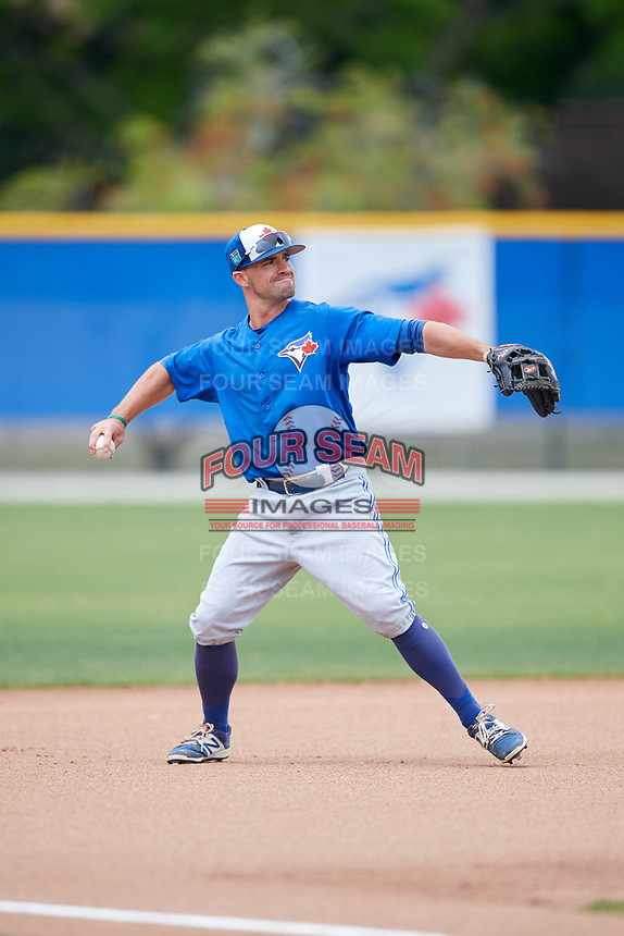 Toronto Blue Jays Jon Berti (2) during a Minor League Spring Training Intrasquad game on March 31, 2018 at Englebert Complex in Dunedin, Florida.  (Mike Janes/Four Seam Images)