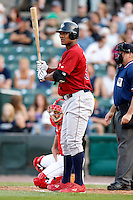 August 3, 2009:  Left Fielder Michael Taylor of the Lehigh Valley IronPigs at bat during a game at Frontier Field in Rochester, NY.  Lehigh Valley is the International League Triple-A affiliate of the Philadelphia Phillies.  Photo By Mike Janes/Four Seam Images