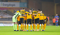 8th January 2021; Molineux Stadium, Wolverhampton, West Midlands, England; English FA Cup Football, Wolverhampton Wanderers versus Crystal Palace; The Wolves team in a huddle before the start of the match