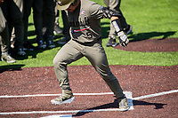 Vanderbilt Commodores catcher C.J. Rodriguez (5) touches home plate after a home run against the South Carolina Gamecocks at Hawkins Field in Nashville, Tennessee, on March 21, 2021. The Gamecocks won 6-5. (Danny Parker/Four Seam Images)