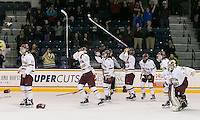 North Andover, Massachusetts - March 6, 2016: NCAA Division I, Women's Hockey East final. Boston College (white/maroon) defeated Boston University (red), 5-0, at Lawler Arena at Merrimack College. Boston College has a perfect Hockey East season - regular season, Bean Pot winner, and Women's Hockey East winner. Celebration begins at end of game.
