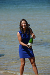 Na Li (CHN), women's champion of the 2014 Australian Open, celebrates with some bubbly in Melbourne Australia on January 25, 2014.