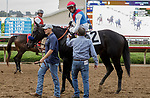 DEL MAR, CA  AUGUST 29:#2 Medina Spirit ridden by John Velasquez, receives congratulations from assistant trainer Jimmy Barnes after winning the Shared Belief Stakes on August 29, 2021 at Del Mar Thoroughbred Club in Del Mar, CA. (Photo by Casey Phillips/Eclipse Sportswire/CSM)