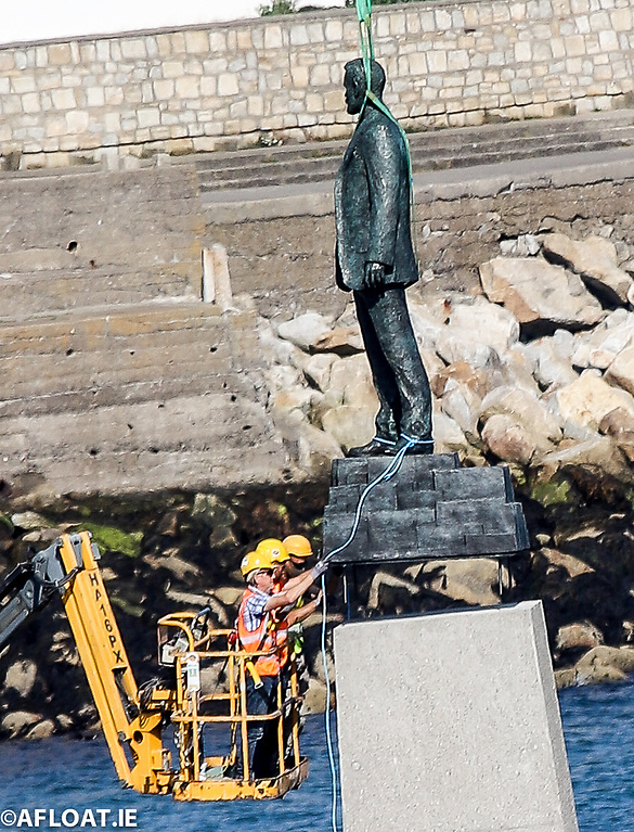 The three-metre high Sir Roger Casement bronze statue is installed on the new jetty at the Dun Laoghaire Baths