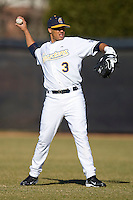 Ray Quinones #3 of the UNC-Greensboro Spartans warms up prior to taking on the Army Black Knights at the UNCG Baseball Stadium March 5, 2010, in Greensboro, NC.  Photo by Brian Westerholt / Four Seam Images