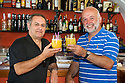 """Alvaio Maigiotta (left) and Tony Alonzi (right) enjoy a """"Martini Doctor Who"""" cocktail in the Beyond the Clouds bar in Picinisco, Italy."""