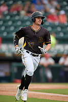 Bradenton Marauders Lucas Tancas (27) runs to first base during a Florida State League game against the Palm Beach Cardinals on May 10, 2019 at LECOM Park in Bradenton, Florida.  Bradenton defeated Palm Beach 5-1.  (Mike Janes/Four Seam Images)