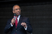 """Lutfur Rahman (Mayor of Tower Hamlets).<br /> <br /> London, 22/03/2014. """"Stand Up To Racism & fascism - No to Scapegoating Immigrants, No to Islamophobia, Yes to Diversity"""", national demo marking UN Anti-Racism Day organised by TUC (Trade Union Congress) and UAF (Unite Against Fascism).<br /> <br /> For more information please click here: http://www.standuptoracism.org.uk/"""