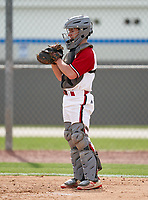 New Castle Hurricanes catcher Nick Rodgers (14) during the IMG National Classic on March 29, 2021 at IMG Academy in Bradenton, Florida.  (Mike Janes/Four Seam Images)