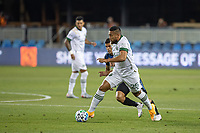 SAN JOSE, CA - SEPTEMBER 19: Bill Tuiloma #25 of the Portland Timbers keeps the ball away from Eric Calvillo #26 of the San Jose Earthquakes during a game between Portland Timbers and San Jose Earthquakes at Earthquakes Stadium on September 19, 2020 in San Jose, California.