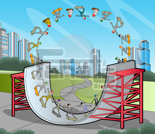 Illustrative image of businessmen depicting a business life cycle showing ups and downs in business thru skateboarding