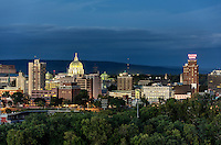 City skyline at night, Harrisburg, Pennsylvania, USA