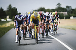 The large breakaway including race leader Yellow Jersey Mathieu Van Der Poel (NED) Alpecin-Fenix during Stage 7 of the 2021 Tour de France, running 249.1km from Vierzon to Le Creusot, France. 2nd July 2021.  <br /> Picture: A.S.O./Pauline Ballet | Cyclefile<br /> <br /> All photos usage must carry mandatory copyright credit (© Cyclefile | A.S.O./Pauline Ballet)