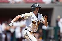 Jacob Hurtubise (39) of the Army Black Knights hustles down the first base line against the North Carolina State Wolfpack at Doak Field at Dail Park on June 3, 2018 in Raleigh, North Carolina. The Wolfpack defeated the Black Knights 11-1. (Brian Westerholt/Four Seam Images)