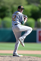 Mesa Solar Sox pitcher Jeff Urlaub (52), of the Oakland Athletics organization, during an Arizona Fall League game against the Glendale Desert Dogs on October 8, 2013 at Camelback Ranch Stadium in Glendale, Arizona.  The game ended in an 8-8 tie after 11 innings.  (Mike Janes/Four Seam Images)