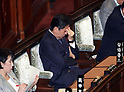 Japanese Prime Minister Abe attends Lower House's plenary session at National Diet