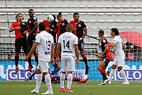 MANIZALES-COLOMBIA, 14–10-2020: Jugadores de Cucuta Deportivo, durante partido de la fecha 14 entre Once Caldas y Cucuta Deportivo, por la Liga BetPlay DIMAYOR 2020, jugado en el estadio Palogrande de la ciudad de Manizales. / Players of Cucuta Deportivo, during match of 14th date between Once Caldas and Cucuta Deportivo, for the BetPlay DIMAYOR Leguaje 2020 played at the Palogrande Stadium in Manizales city. / Photo: VizzorImage / JJ Bonilla / Cont.