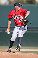 Nathan Bannister (35) of the Arizona Wildcats pitches during a game against the UCLA Bruins at Jackie Robinson Stadium on May 16, 2015 in Los Angeles, California. UCLA defeated Arizona, 6-0. (Larry Goren/Four Seam Images)