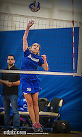27 October 2013: Yeshiva University Maccabee Defensive Specialist Carol Jacobson, a Freshman from Seattle, WA, warms up prior to a Skyline Conference game against the Purchase College Panthers at the College of Mount Saint Vincent in Riverdale, NY. The Panthers defeated the Maccabees 3-0 in NCAA women's volleyball play. Mandatory Credit: Ed Wolfstein Photo *** RAW (NEF) Image File Available ***