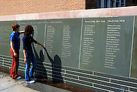 Seneca Falls, NY, New York, Finger Lakes, Wall of Signers the Declaration of Sentiments at the Women's Rights National Historical Park in Seneca Falls. The birthplace of the women's rights movement.