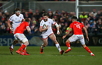 Friday 3rd January 2020   Ulster Rugby vs Munster Rugby<br /> <br /> Stuart McCloskey is tackled by Peter O'Mahony and Conor Murray during the PRO14 Round 10 inter-pro clash between Ulster and Munster at Kingspan Stadium, Ravenhill Park, Belfast, Northern Ireland.  Photo by John Dickson / DICKSONDIGITAL